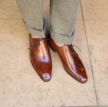 Men Classic Brown Tone Leather Handmade Oxford Plain Toe Classical Vintage Shoes - $139.99+