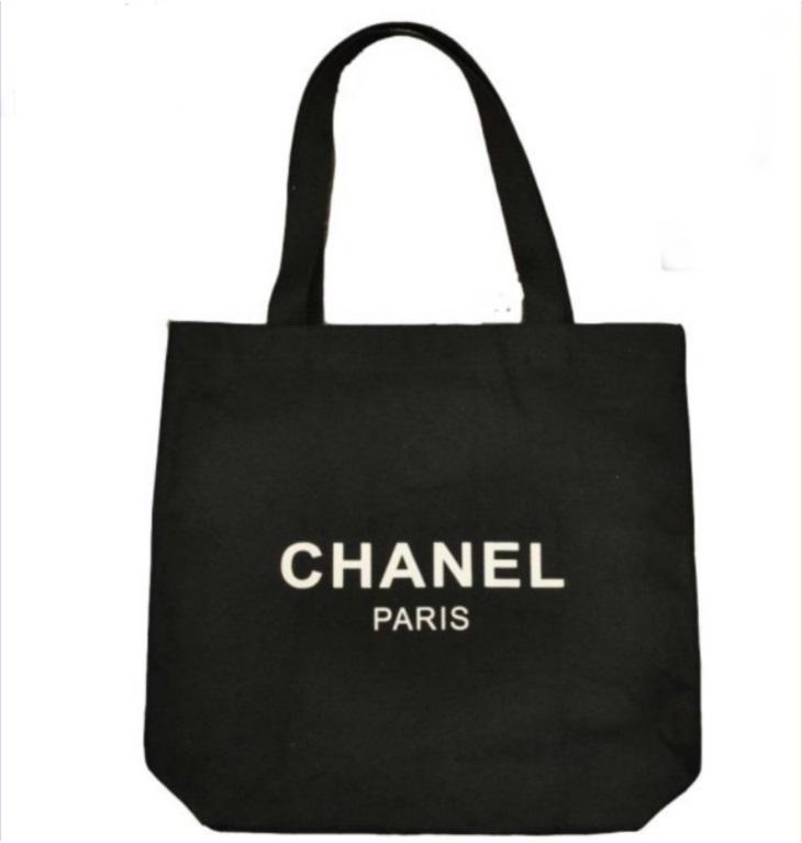 719c60fbd385 Chanel Canvas Logo Black Eco Friendly Shopping Bag - $24.99