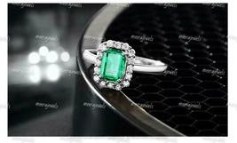 3Ct Emerald Cut Green Emerald Diamond Halo Engagement Ring 14K White Gol... - $110.49