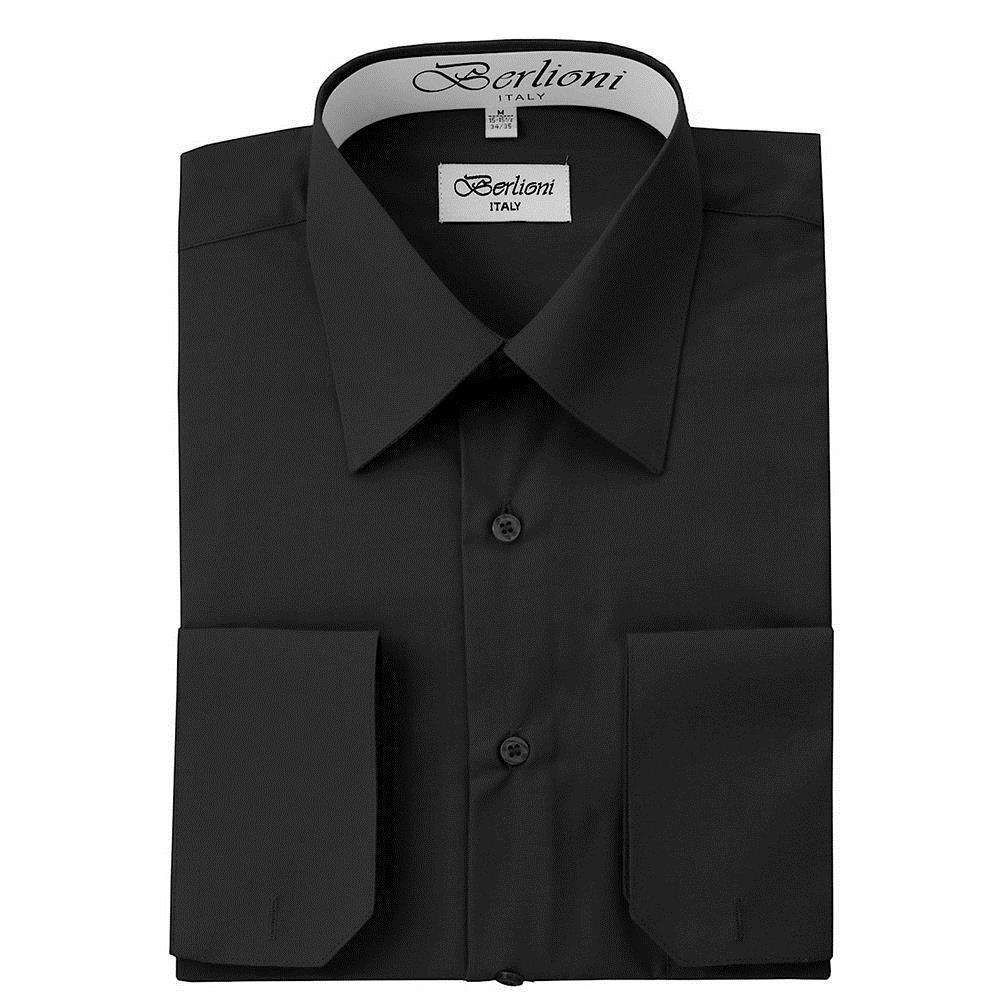 BERLIONI ITALY MEN'S PREMIUM FRENCH CONVERTIBLE CUFF SOLID DRESS SHIRT BLACK