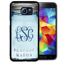 MONOGRAM CASE FOR SAMSUNG S9 S8 S7 S7 S6 PLUS RUBBER COVER BLUE MASON JAR - $13.98