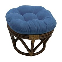 International Caravan Furniture Piece Rattan Ottoman with Micro Suede Cu... - $48.76
