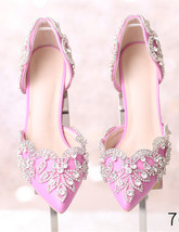 Women Blush Pink Swarovski Wedding Sandal Shoe,Bridal Low Heel Shoes US ... - £71.68 GBP