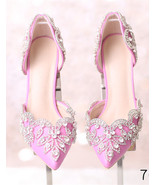 Women Blush Pink Swarovski Wedding Sandal Shoe,Bridal Low Heel Shoes US ... - £71.68 GBP