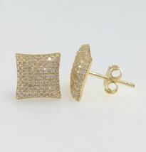 Round Cut White Diamond Women's Stud Earrings 14k Yellow Gold Plated 925 Silver - $73.28