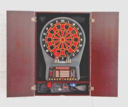 Electronic Darts Board Set Mahogany Cabinet Finish Arachnid Cricket Pro ... - $394.91
