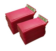 "50-Pack(4"" x 8"") Hot Pink Color Self Seal Poly Bubble Mailers Padded Env... - $13.33"