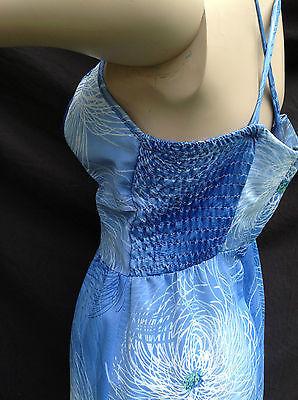 Vtg Blue Hawaiian Floral Maxi Dresss Kimos Polynesian Shop Hawaii Smocked S