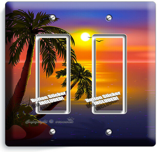 ROMANTIC SUNSET TROPICAL ISLAND PALMS 2 GFCI LIGHT SWITCH WALL PLATES ROOM DECOR