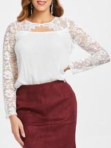 Lace Insert Cut Out Blouse(WHITE 2XL) - $12.95