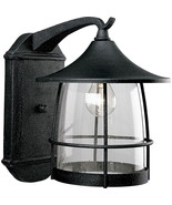 Black Gilded Iron Finish Outdoor Patio Wall Lantern Progress Lighting P5... - $159.64