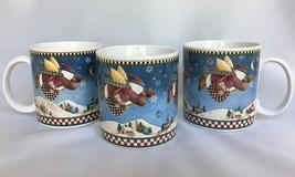 3 Sakura Snow Angel Village Coffee Mugs Debbie Mumm Cups Snowman Christmas - $15.79