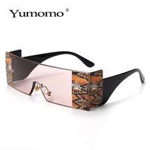 YUMOMO Fashion Oversized Square Rimless Sunglasses Women Brand Designer Flat Big image 5