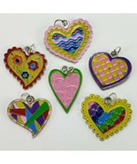 Heart Charms Set 6pc Colorful Metal Hearts Scrapbooking Crafts Embellish... - $1.95
