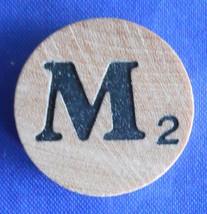 WordSearch Letter M Tile Replacement Wooden Round Game Piece Part 1988 Pressman - $1.45