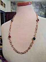Vintage Golden Chain Necklace Of X & O Links Blk & Amber Stations Toggle Closure - $55.00