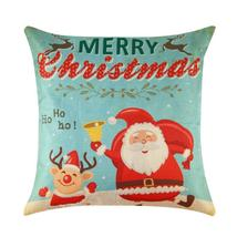 (01)Merry Christmas Tree Pillowcase Santa Snowman Print Pillow Cover Lin... - $18.00