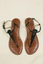 Sam Edelman Women's 5 M Gigi Thong Black Animal Print Ankle Strap Sandal   - $21.78