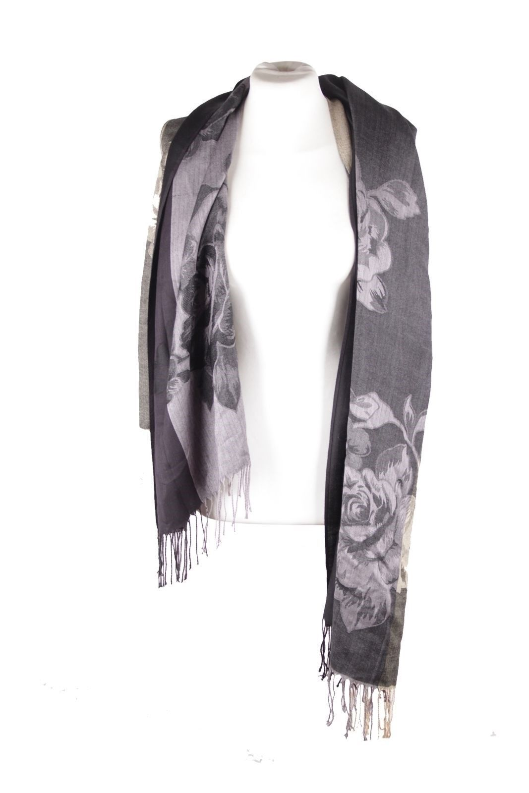 Primary image for COVERI COLLECTION Italian VINTAGE Black & Beige Viscose SCARF Stole w/FRINGES QS