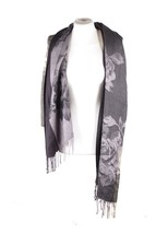 COVERI COLLECTION Italian VINTAGE Black & Beige Viscose SCARF Stole w/FR... - $34.65