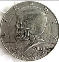 New Hobo Nickel 1964 Skull Kennedy Half Dollar Skeleton Casted Coin - $11.39