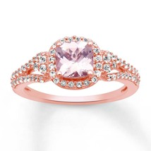 Lovely 14K Rose Gold Over Silver Cushion-Cut Morganaite & Dia Anniversary Ring - $130.99