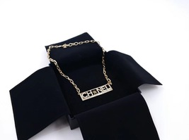 NEW Authentic Chanel Crystal Star CC Logo Long Gold Chain Necklace