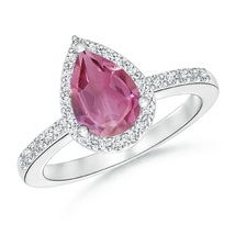 Pear Cut Pink Tourmaline & CZ Diamond 14K White Gold Fn Engagement Halo Ring - $87.99