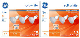 6 Pack General Electric 45w R20 Incandescent Light Bulbs White Indoor Floodlight