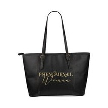 Tote Bags, Phenomenal Woman Graphic Text Black Leather Bag - $99.37