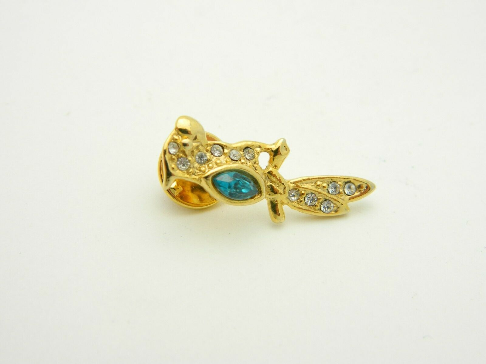 BAB Ballou Green Clear Glass Rhinestone Parrot Bird Gold Tone Tie Tack Vintage image 2