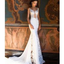 Sexy Flesh On Lace Illusion Deluxe Backless Luxury Mermaid Trumpet Wedding Dress