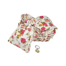 Rose Flower Natural Burlap Drawstring Gift Bag, Linen Floral Pattern Pou... - $42.99