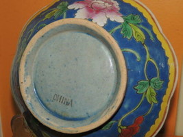 """Chinese 7"""" Hand Painted Bowl Antique Qing 19th Lobed Footed Floral marke... - $67.49"""