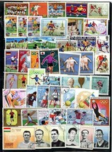 SOCCER/FOOTBALL collection x 46 beautiful  LARGE USED STAMPS, NICARAGUA,... - $6.44