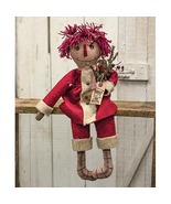 primitive country farmhouse decor fabric stuffed raggedy Christmas Annie... - $46.99