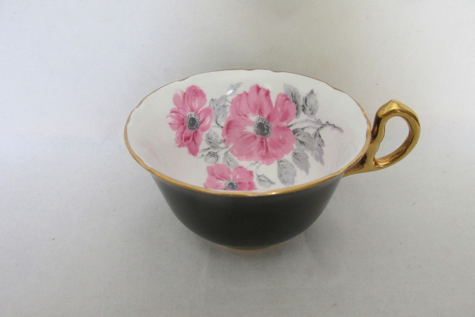 Vintage Royal Stafford English Bone China Cup & Saucer - Black with Pink Roses image 3