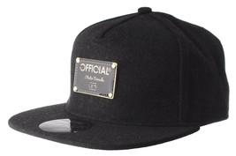 Official Crown Black Luxury Brushed Wool Stato Dorada Strapback Baseball Hat NWT image 2