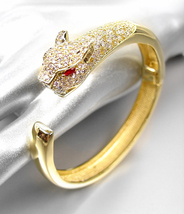 LUXURIOUS Stunning Designer 18kt Gold Plated CZ Crystals Leopard Cuff Bracelet - $79.99