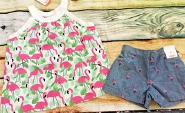 Gymboree Fruit Punch 7 6 Set Flamingo Top Chambray Embroidered Shorts NWT - $14.95