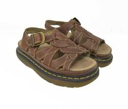 Doc Dr. Martens Women's Sz 7 EU 38 Brown Pebbled Leather Buckle Sandals AW004 image 2