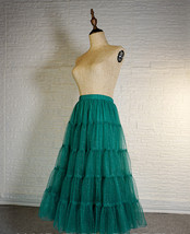 Women Emerald Green Sparkle Skirt Tiered Long Tulle Skirt Evening Maxi Skirt image 5