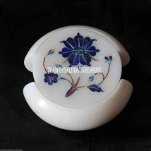 White Marble Coffee Coaster Set Rare Lapis Lazuli Mosaic Floral Inlay Decor Gift - $263.32