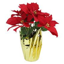 "16.5"" Red Artificial Christmas Poinsettia Arrangement Gold Wrap Pot - tk... - $39.95"