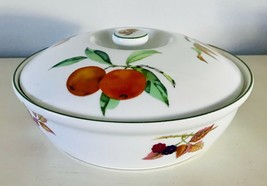 Evesham Vale Dish & Lid Fine Porcelain Royal Worcester Fruit Green Trim ... - $33.85
