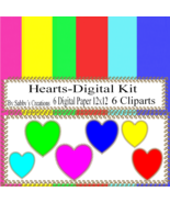Hearts Digital Kit 10-Digtial Paper-Bunny-Egg-Art Clip-Gift Tag-Jewelry-... - $5.00