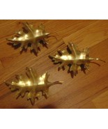 Three Homco Brass Leaves To Hang On Wall Very Old Hanger On Back - $3.99