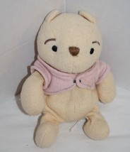 "Disney Classic WINNIE THE POOH BEAR 7"" Plush Pink Jacket Bean Bag Small ... - $15.40"