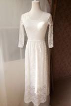 Ivory White Lace Boho Dress long Sleeve Lace Dress Easy Fitted Wedding Dress NWT image 7