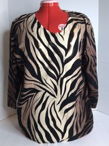 JM Collection Black Beige Animal Zebra Print Long Sleeve Top Blouse Shir... - $13.99